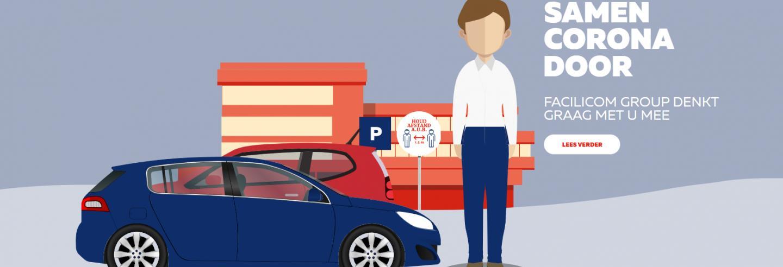 Geanimeerde afbeelding met een man, auto en kantoorgebouw